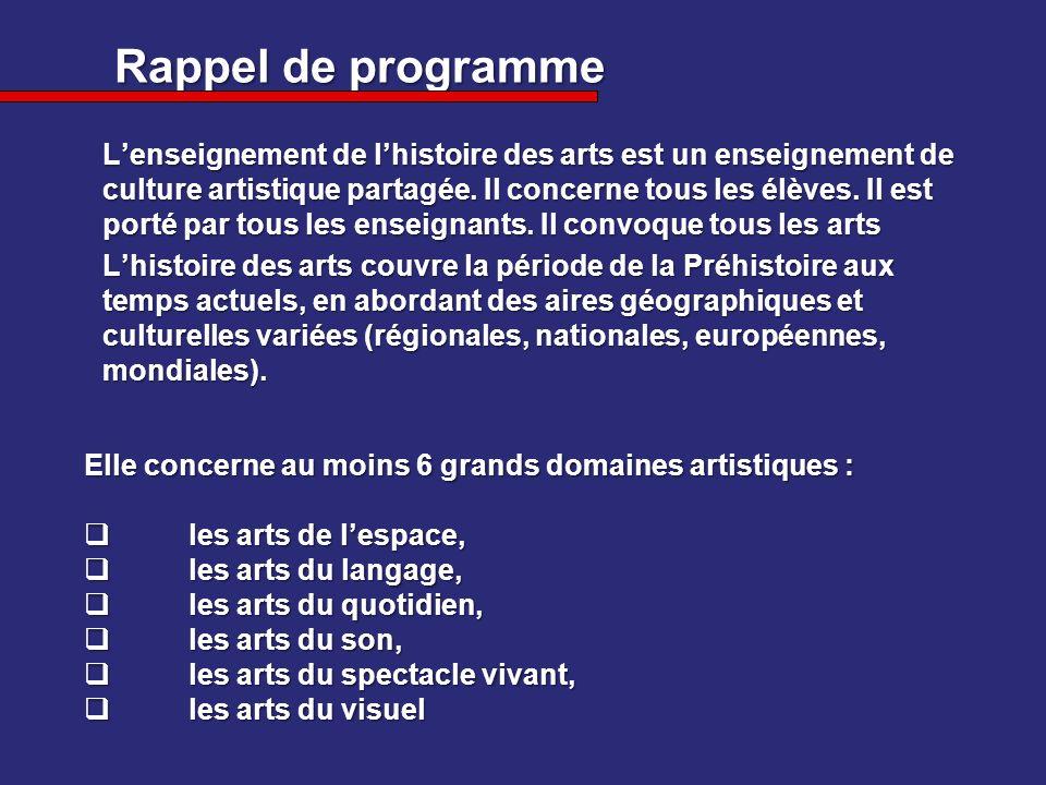 Rappel de programme Lenseignement de lhistoire des arts est un enseignement de culture artistique partagée. Il concerne tous les élèves. Il est porté