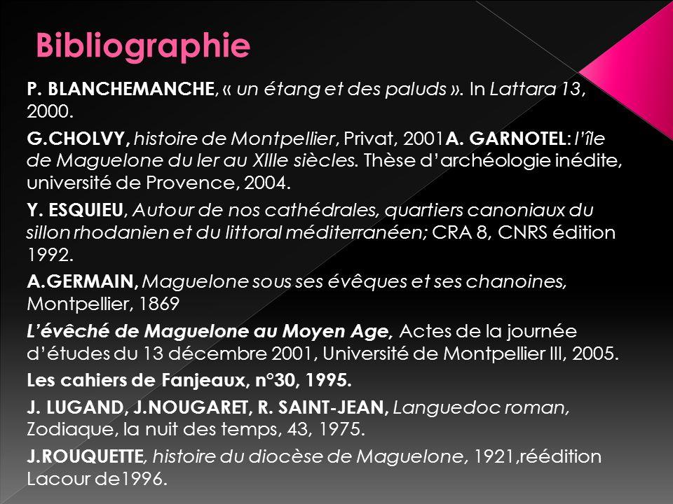 P. BLANCHEMANCHE, « un étang et des paluds ». In Lattara 13, 2000. G.CHOLVY, histoire de Montpellier, Privat, 2001 A. GARNOTEL : lîle de Maguelone du