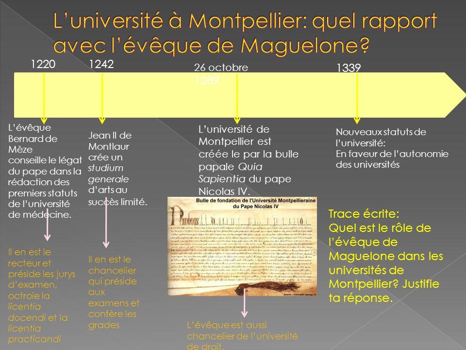 Luniversité de Montpellier est créée le par la bulle papale Quia Sapientia du pape Nicolas IV. 1220 Lévêque Bernard de Mèze conseille le légat du pape