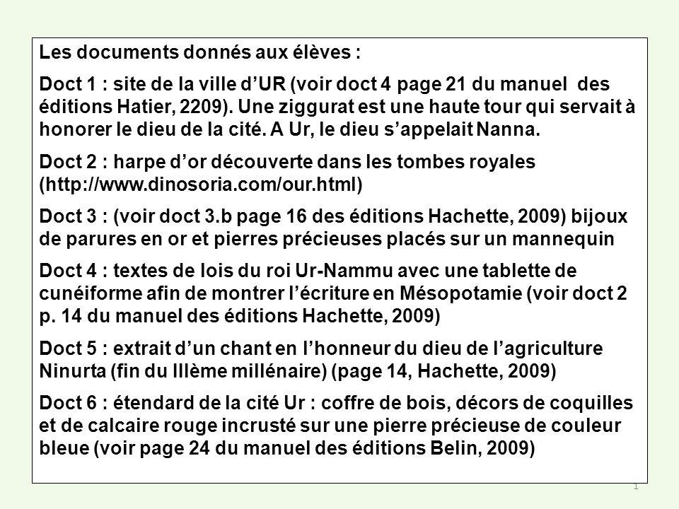 1 Les documents donnés aux élèves : Doct 1 : site de la ville dUR (voir doct 4 page 21 du manuel des éditions Hatier, 2209). Une ziggurat est une haut
