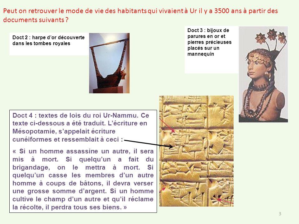 Doct 2 : harpe dor découverte dans les tombes royales Doct 3 : bijoux de parures en or et pierres précieuses placés sur un mannequin 3 Peut on retrouv
