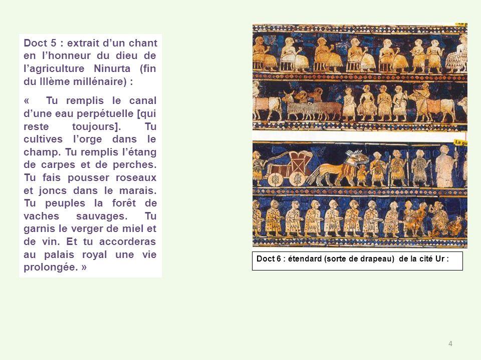 Doct 5 : extrait dun chant en lhonneur du dieu de lagriculture Ninurta (fin du IIIème millénaire) : « Tu remplis le canal dune eau perpétuelle [qui re