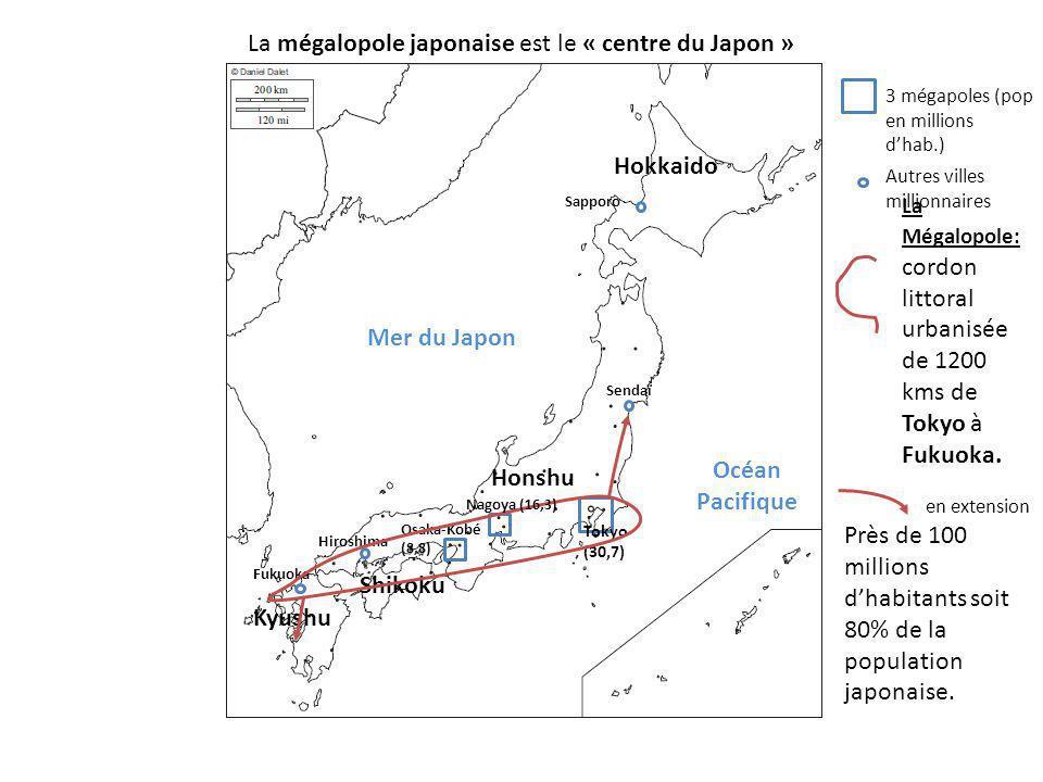 Kyushu Shikoku Honshu Hokkaido La Mégalopole: cordon littoral urbanisée de 1200 kms de Tokyo à Fukuoka. Mer du Japon Océan Pacifique La mégalopole jap