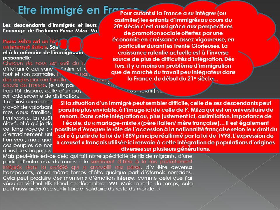 Les descendants dimmigrés et leurs racines. Extrait de la conclusion de louvrage de lhistorien Pierre Milza: Voyage en Ritalie, Plon, 1993 Pierre Milz