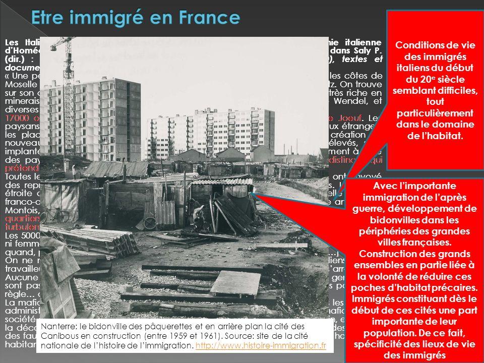 Les Italiens dHomécourt (Lorraine) Commandant Reynaud, « la colonie italienne dHomécourt ». Le musée social : Mémoires et documents, n° 6, 1910, cité