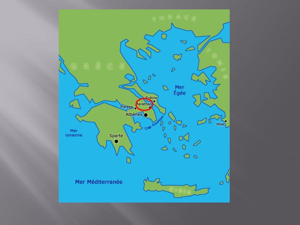 Récit de la bataille de Marathon, 490avJC: Plus de 25 000 soldats perses arrivent à Marathon pour prendre dassaut la Grèce.
