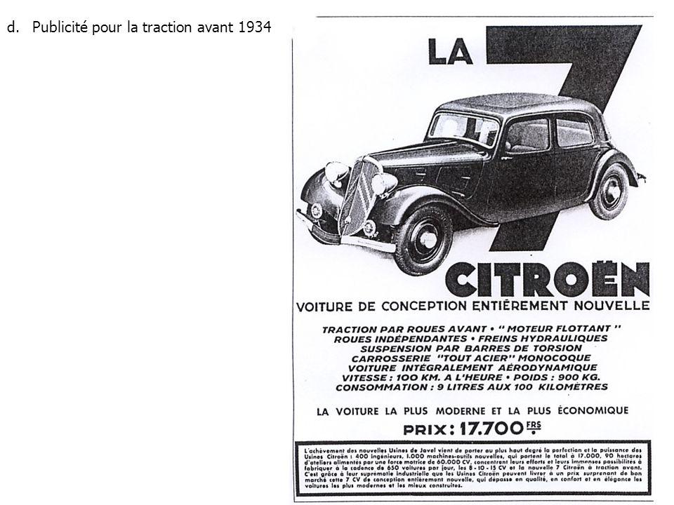 d.Publicité pour la traction avant 1934