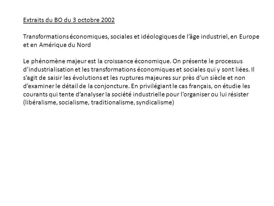 Extraits du BO du 3 octobre 2002 Transformations économiques, sociales et idéologiques de lâge industriel, en Europe et en Amérique du Nord Le phénomène majeur est la croissance économique.