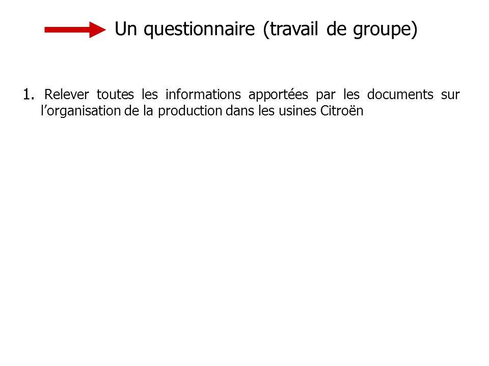 1. Relever toutes les informations apportées par les documents sur lorganisation de la production dans les usines Citroën Un questionnaire (travail de