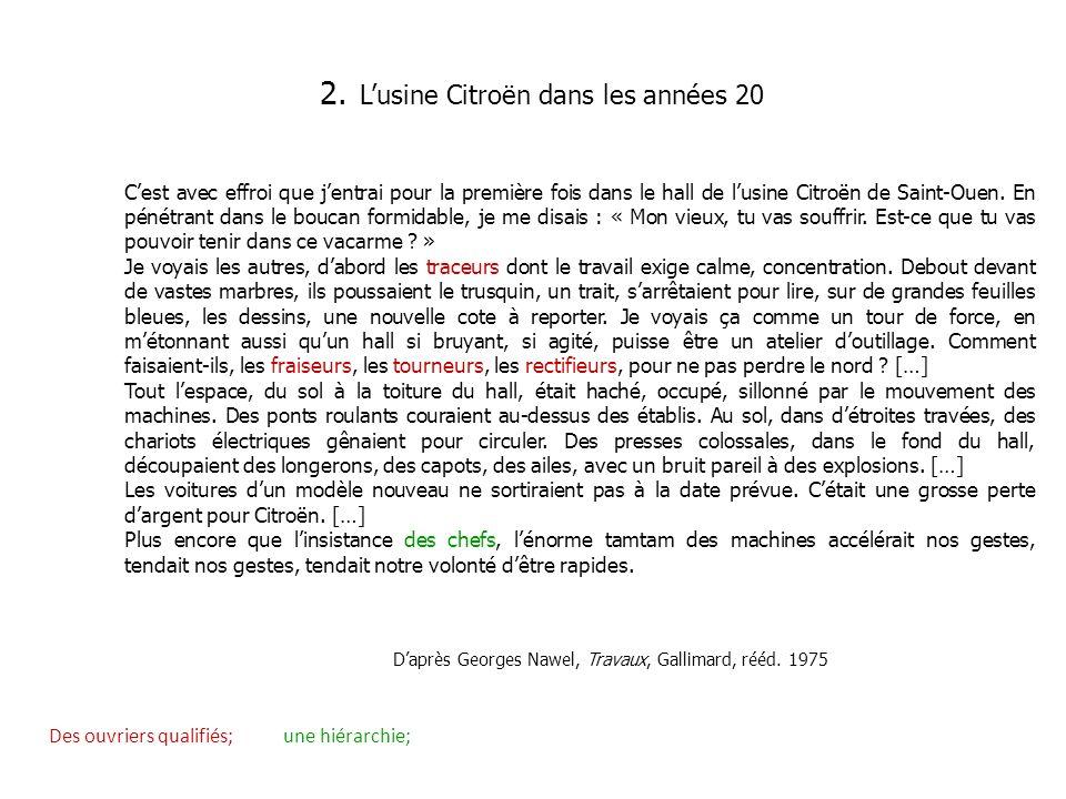 2. Lusine Citroën dans les années 20 Cest avec effroi que jentrai pour la première fois dans le hall de lusine Citroën de Saint-Ouen. En pénétrant dan