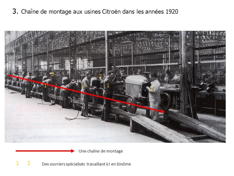 3. Chaîne de montage aux usines Citroën dans les années 1920 1 2 11 2 2 Une chaîne de montage 21 Des ouvriers spécialisés travaillant ici en binôme