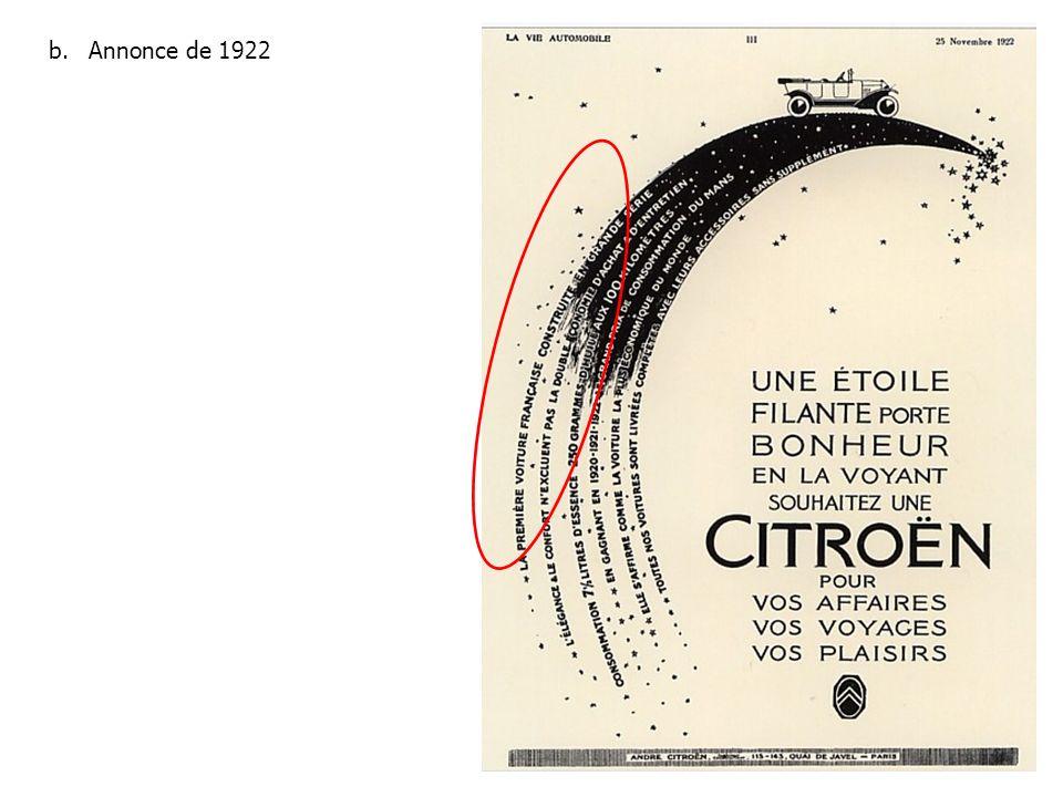 b.Annonce de 1922