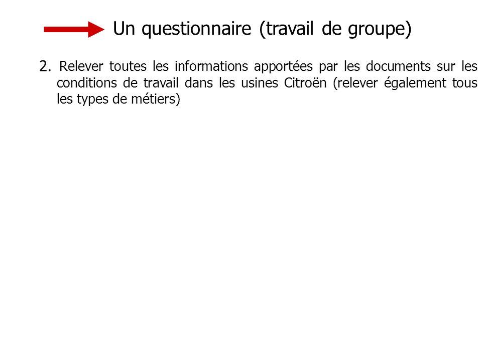 Un questionnaire (travail de groupe) 2.