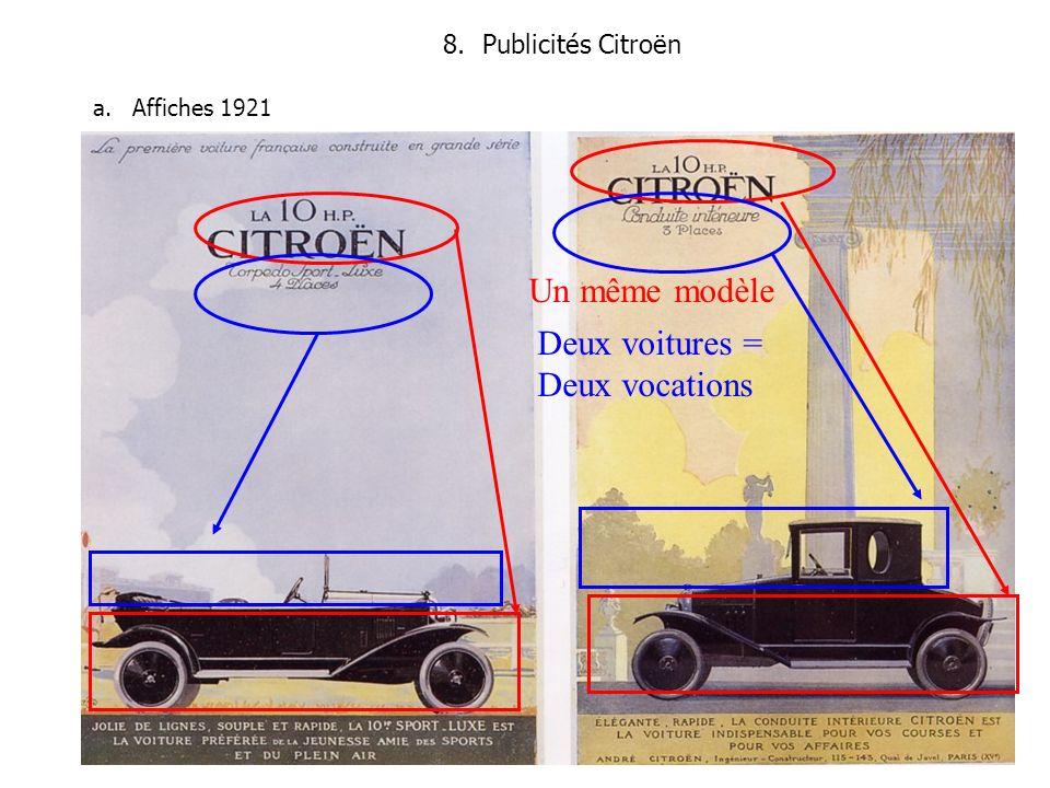 8.Publicités Citroën a.Affiches 1921 Un même modèle Deux voitures = Deux vocations