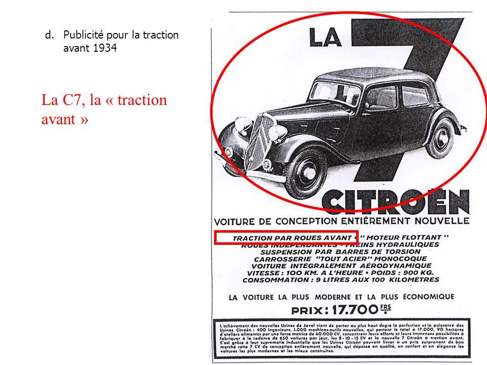 d.Publicité pour la traction avant 1934 La C7, la « traction avant »
