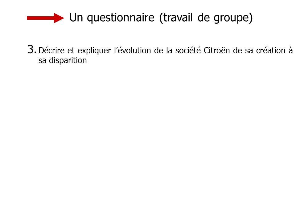 Un questionnaire (travail de groupe) 3.
