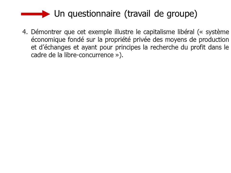 Un questionnaire (travail de groupe) 4.Démontrer que cet exemple illustre le capitalisme libéral (« système économique fondé sur la propriété privée des moyens de production et déchanges et ayant pour principes la recherche du profit dans le cadre de la libre-concurrence »).