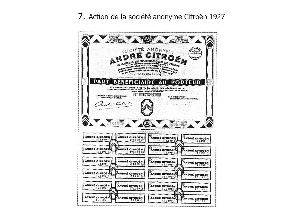 7. Action de la société anonyme Citroën 1927