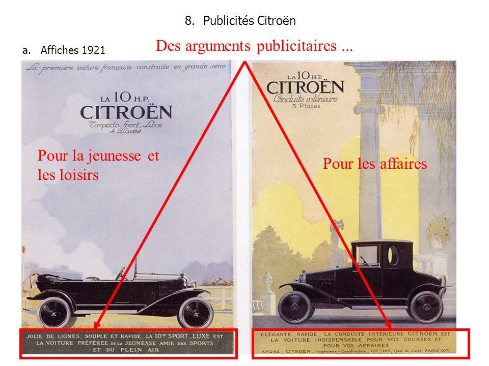 8.Publicités Citroën a.Affiches 1921 Des arguments publicitaires...
