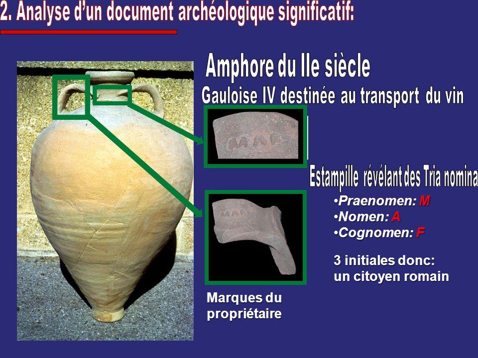 3 initiales donc: un citoyen romain Praenomen: MPraenomen: M Nomen: ANomen: A Cognomen: FCognomen: F Marques du propriétaire