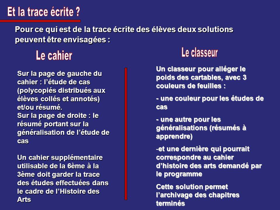 Pour ce qui est de la trace écrite des élèves deux solutions peuvent être envisagées : Sur la page de gauche du cahier : létude de cas (polycopiés dis