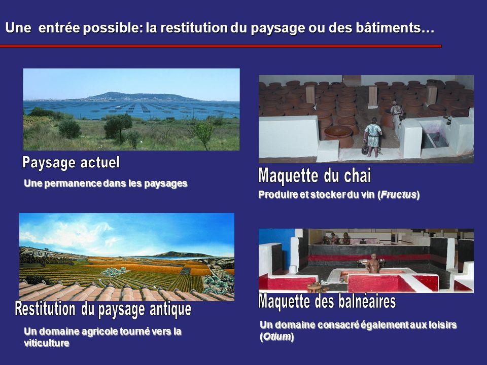 Une entrée possible: la restitution du paysage ou des bâtiments… Un domaine agricole tourné vers la viticulture Produire et stocker du vin (Fructus) U