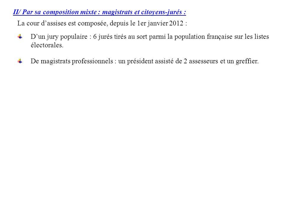 II/ Par sa composition mixte : magistrats et citoyens-jurés : La cour dassises est composée, depuis le 1er janvier 2012 : De magistrats professionnels