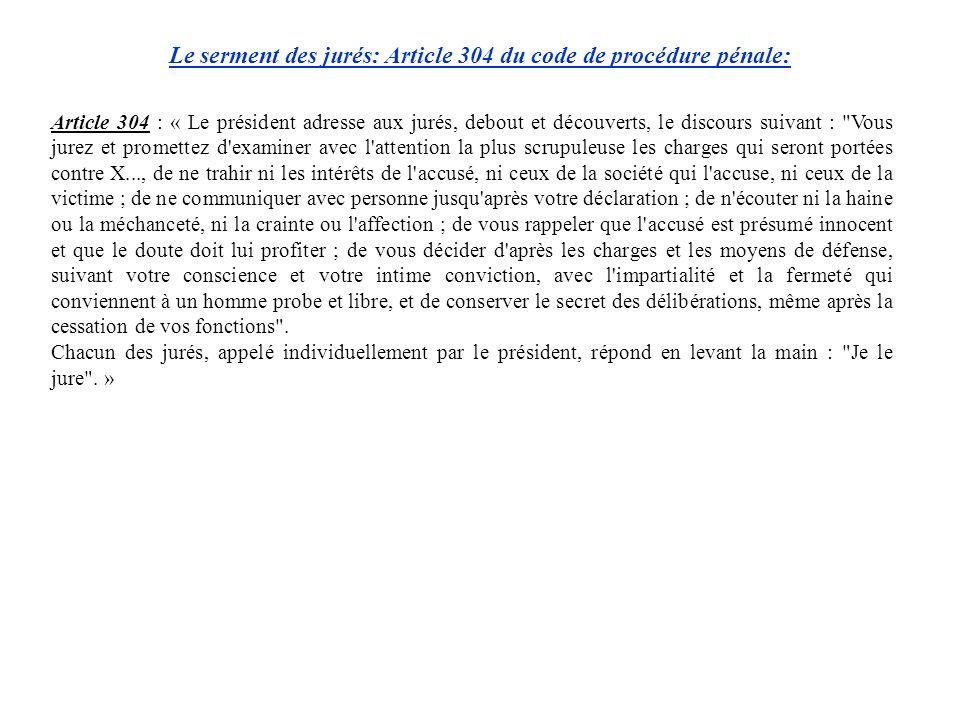 Article 304 : « Le président adresse aux jurés, debout et découverts, le discours suivant :