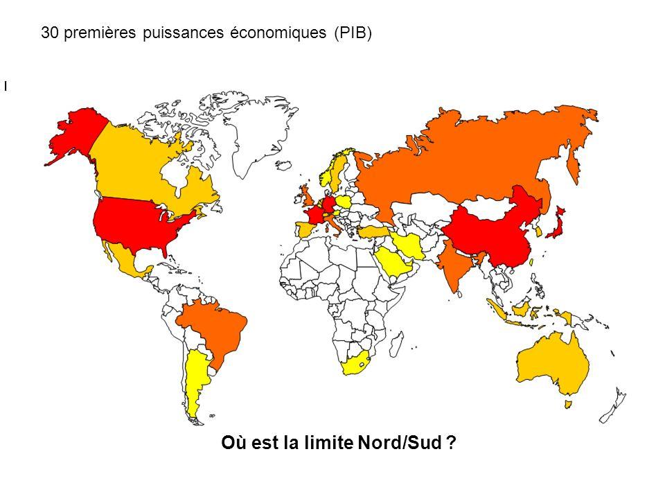30 premières puissances économiques (PIB) Où est la limite Nord/Sud ?