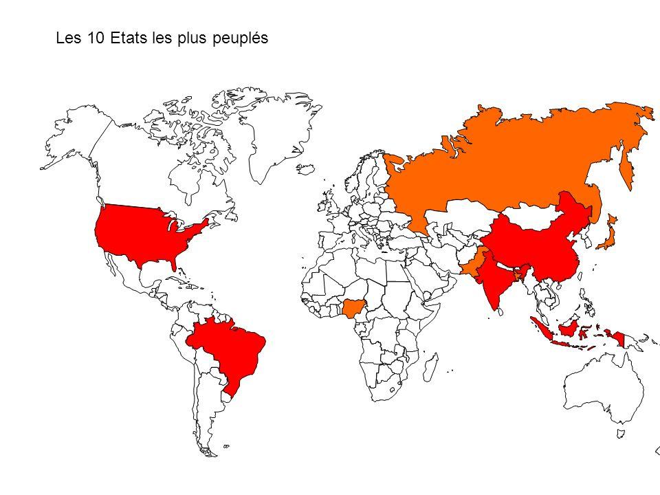 Les 15 Etats les plus peuplés