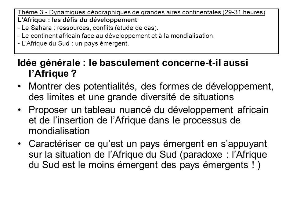Thème 3 - Dynamiques géographiques de grandes aires continentales (29-31 heures) L'Afrique : les défis du développement - Le Sahara : ressources, conf