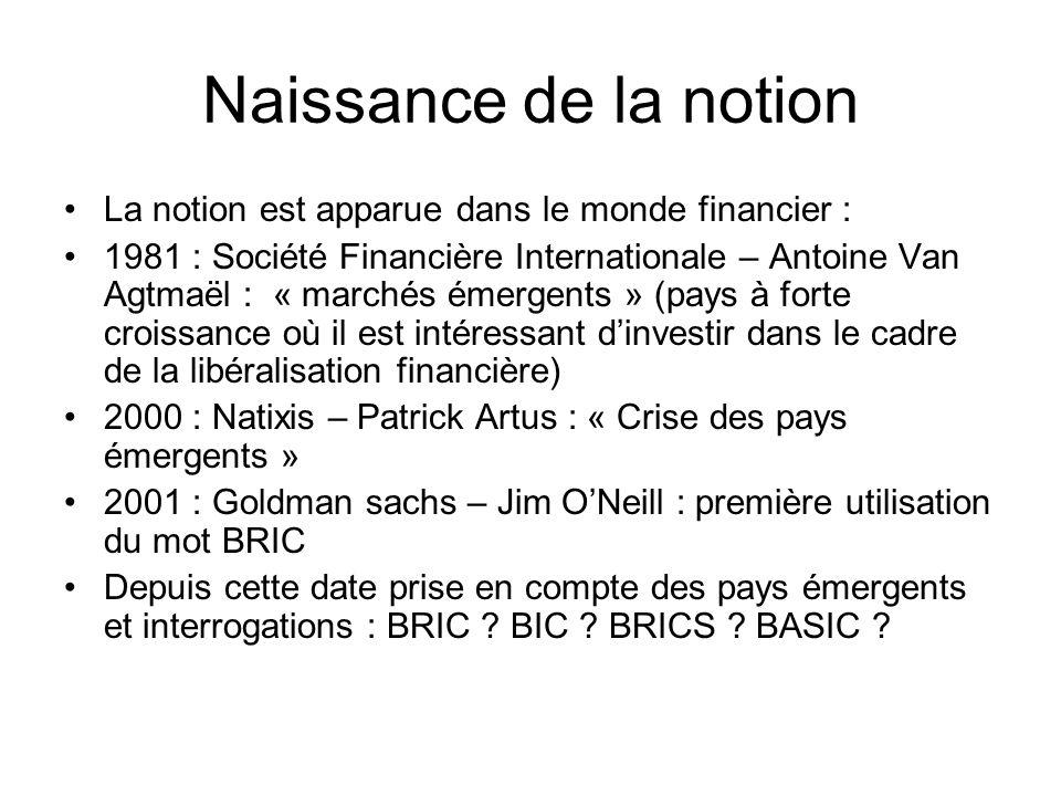 Naissance de la notion La notion est apparue dans le monde financier : 1981 : Société Financière Internationale – Antoine Van Agtmaël : « marchés émer