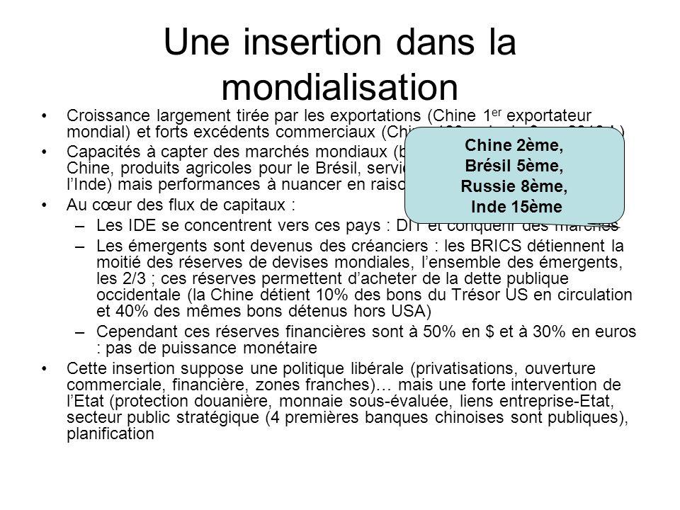 Une insertion dans la mondialisation Croissance largement tirée par les exportations (Chine 1 er exportateur mondial) et forts excédents commerciaux (