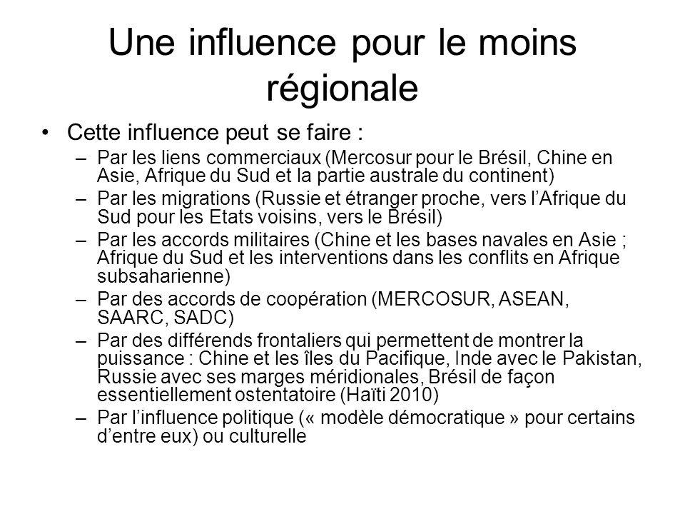 Une influence pour le moins régionale Cette influence peut se faire : –Par les liens commerciaux (Mercosur pour le Brésil, Chine en Asie, Afrique du S