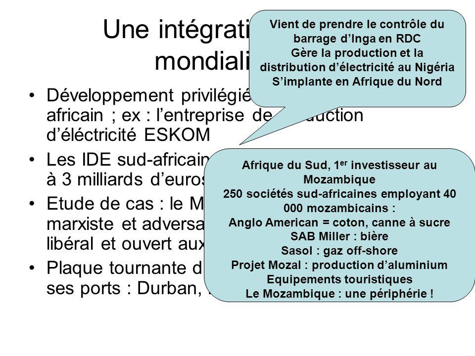 Une intégration dans la mondialisation Développement privilégié sur le continent africain ; ex : lentreprise de production déléctricité ESKOM Les IDE