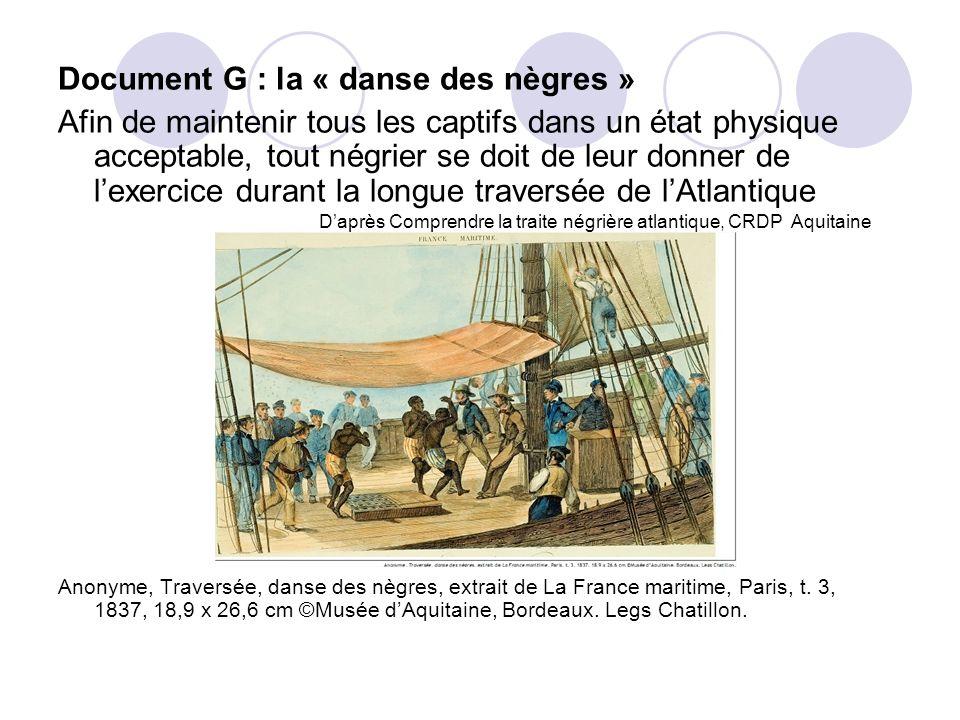Document G : la « danse des nègres » Afin de maintenir tous les captifs dans un état physique acceptable, tout négrier se doit de leur donner de lexer