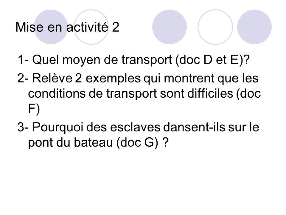 Mise en activité 2 1- Quel moyen de transport (doc D et E)? 2- Relève 2 exemples qui montrent que les conditions de transport sont difficiles (doc F)
