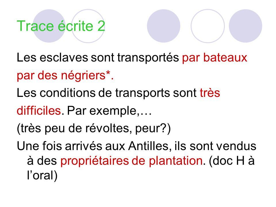 Trace écrite 2 Les esclaves sont transportés par bateaux par des négriers*. Les conditions de transports sont très difficiles. Par exemple,… (très peu