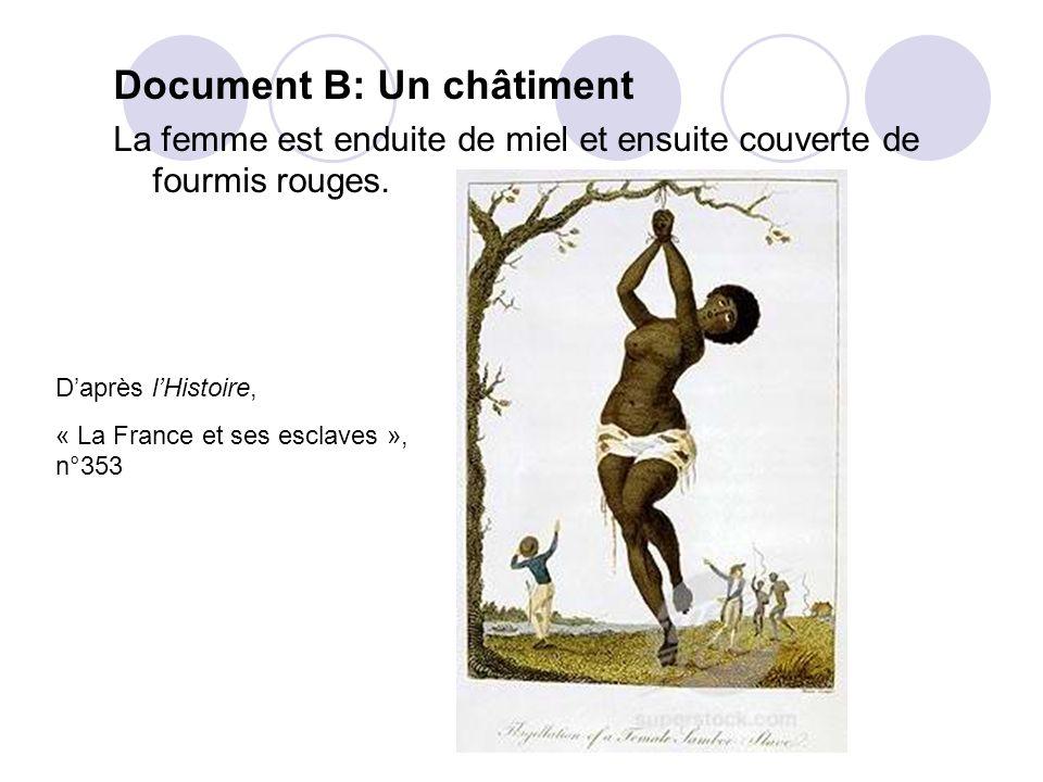 Document B: Un châtiment La femme est enduite de miel et ensuite couverte de fourmis rouges. Daprès lHistoire, « La France et ses esclaves », n°353