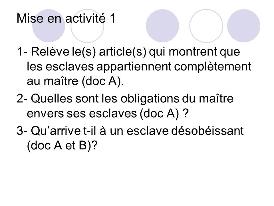 Mise en activité 1 1- Relève le(s) article(s) qui montrent que les esclaves appartiennent complètement au maître (doc A). 2- Quelles sont les obligati
