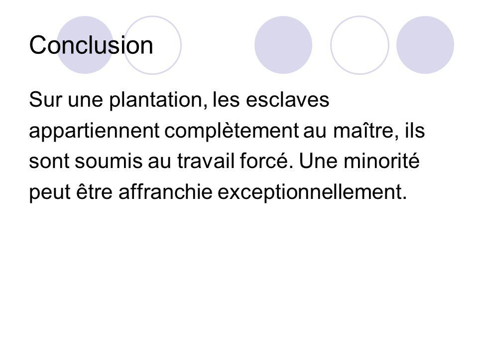 Conclusion Sur une plantation, les esclaves appartiennent complètement au maître, ils sont soumis au travail forcé. Une minorité peut être affranchie