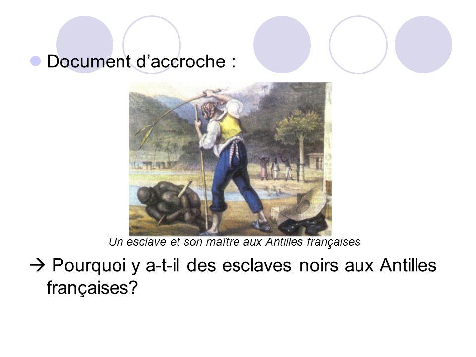 Document daccroche : Un esclave et son maître aux Antilles françaises Pourquoi y a-t-il des esclaves noirs aux Antilles françaises?