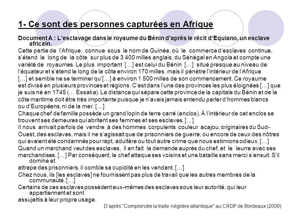 1- Ce sont des personnes capturées en Afrique Document A : Lesclavage dans le royaume du Bénin daprès le récit dEquiano, un esclave africain. Cette pa