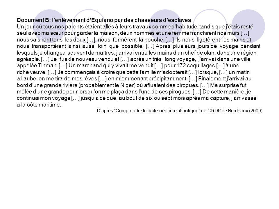 Document B: lenlèvement dEquiano par des chasseurs desclaves Un jour où tous nos parents étaient allés à leurs travaux comme dhabitude, tandis que jét