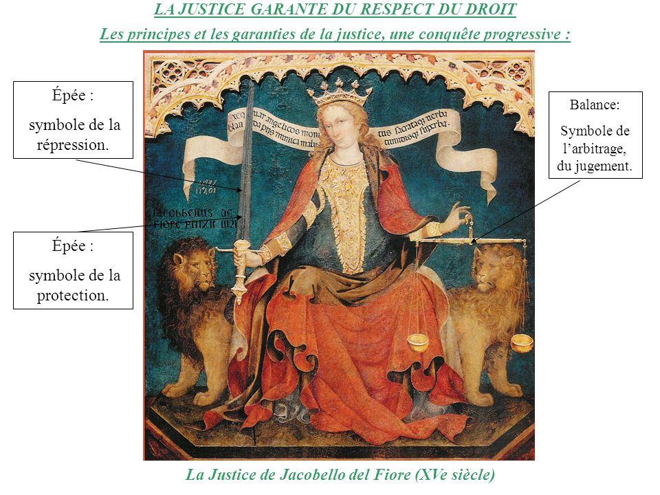 LA JUSTICE GARANTE DU RESPECT DU DROIT Les principes et les garanties de la justice, une conquête progressive : La Justice de Jacobello del Fiore (XVe siècle) Épée : symbole de la répression.