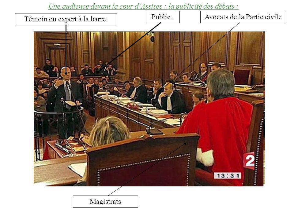 Une audience devant la cour dAssises : la publicité des débats : Magistrats Public.Avocats de la Partie civile Témoin ou expert à la barre.