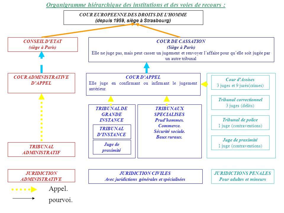 COUR EUROPEENNE DES DROITS DE LHOMME (depuis 1959, siège à Strasbourg) CONSEIL DETAT (siège à Paris) COUR ADMINISTRATIVE DAPPEL TRIBUNAL ADMINISTRATIF JURIDICTION ADMINISTRATIVE COUR DE CASSATION (Siège à Paris) Elle ne juge pas, mais peut casser un jugement et renvoyer laffaire pour quelle soit jugée par un autre tribunal COUR DAPPEL Elle juge en confirmant ou infirmant le jugement antérieur.