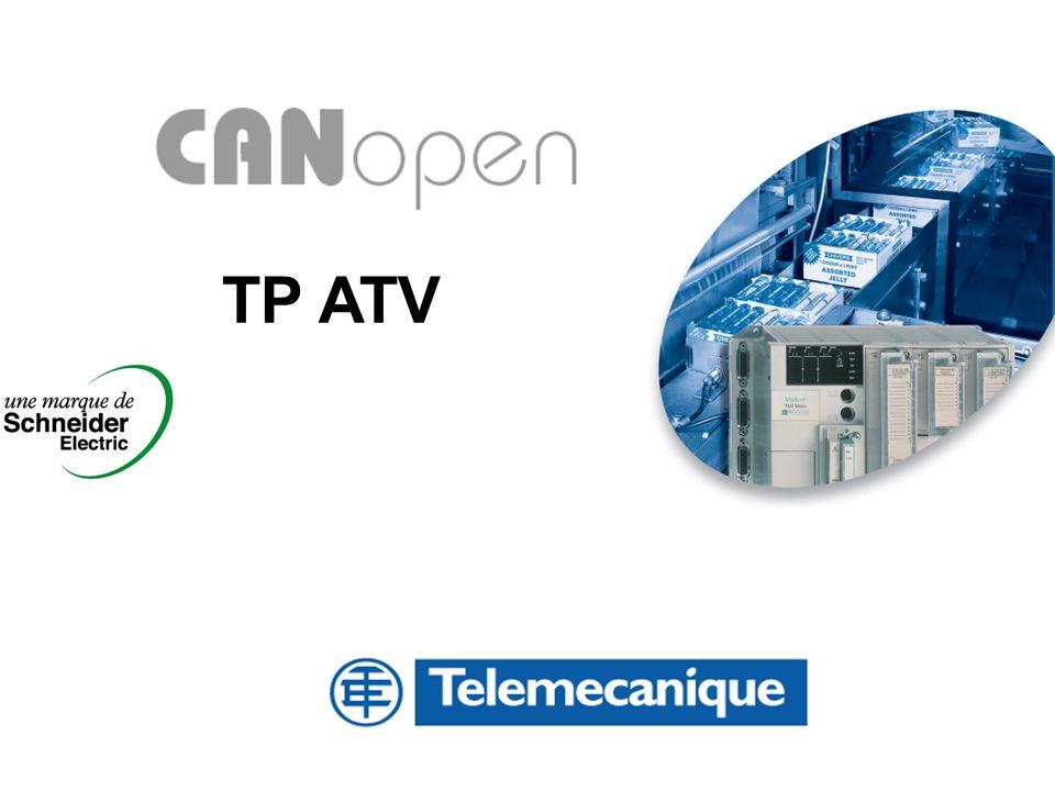 2 SOMMAIRE TP CANOpen Mise en oeuvre Hardware du BUS CANOpen sur un variateur ATV58 Câblage Mise en œuvre Software du BUS CANOpen sur un variateur ATV58 Configuration par l outil Sycon ( HILSCHER ) Configuration PL7.