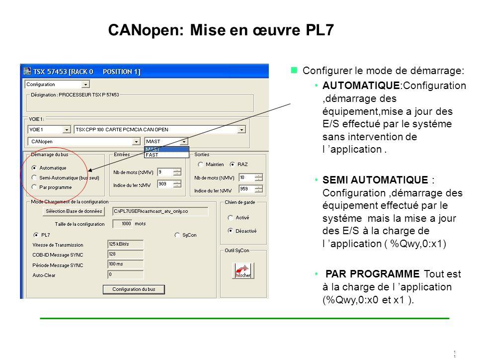 1 CANopen: Mise en œuvre PL7 Configurer le mode de démarrage: AUTOMATIQUE:Configuration,démarrage des équipement,mise a jour des E/S effectué par le s
