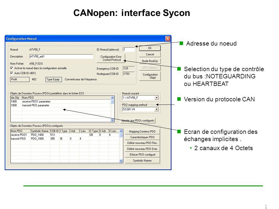 1313 CANopen: interface Sycon Ecran de configuration des échanges implicites. 2 canaux de 4 Octets Selection du type de contrôle du bus :NOTEGUARDING